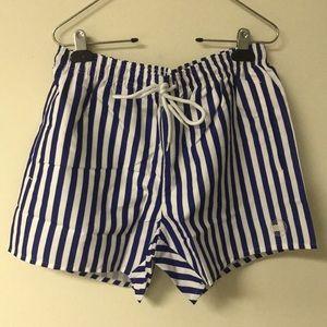 TOPMAN Swim Trunks Size Medium Blue/White NWT